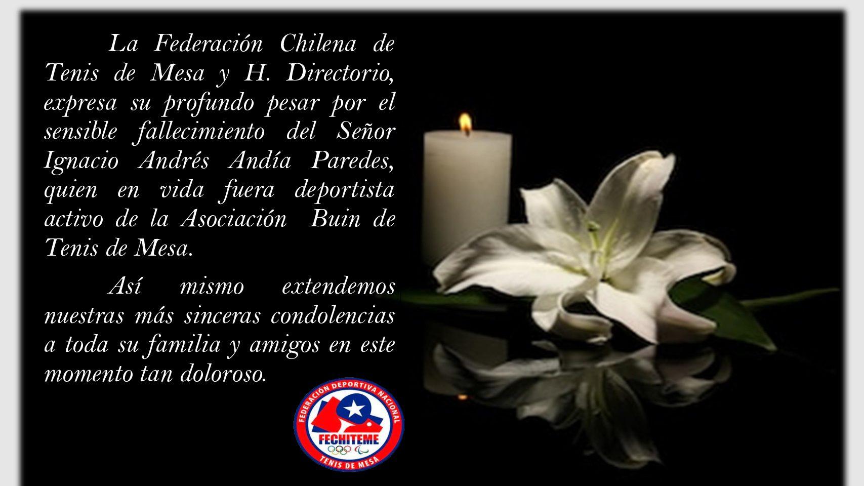 Fechiteme envía condolencias a Familiares del jugador Ignacio Andía Paredes, Paz a sus restos.